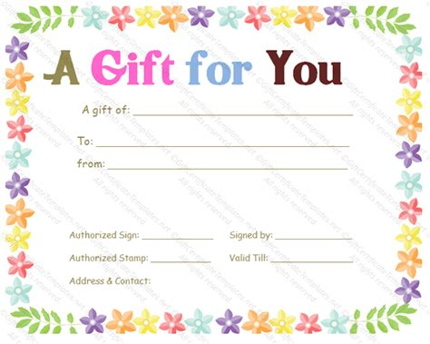celebration gift certificate template gift templates