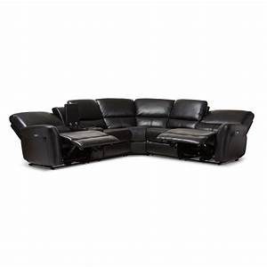 Baxton studio amaris modern and contemporary black bonded for 5 piece reclining sectional sofa