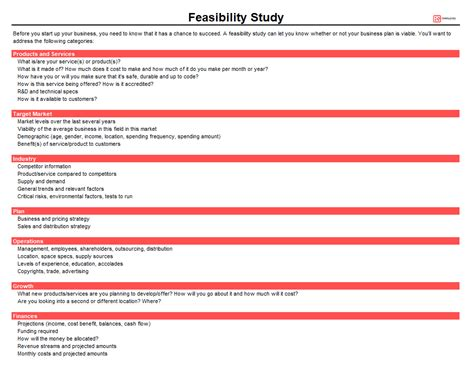 feasibility study templates  word excel business