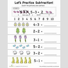 Learning Subtraction 1 To 5  Education  Preschool Worksheets, Subtraction Kindergarten