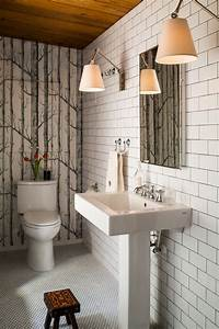 birch tree wallpaper powder room contemporary with With kitchen cabinets lowes with papier peint originaux