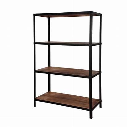 Iron Wood Shelves Open Freestanding Modern Mango
