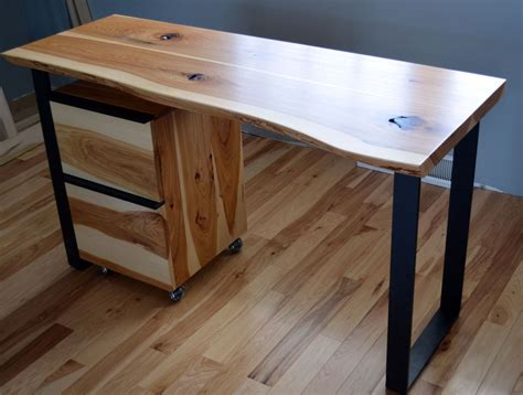 natural wood desk top custom rustic hickory and steel desk with a natural edge