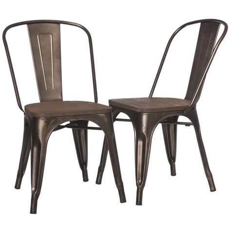 dining chairs set of 2 industrial metal wood vintage