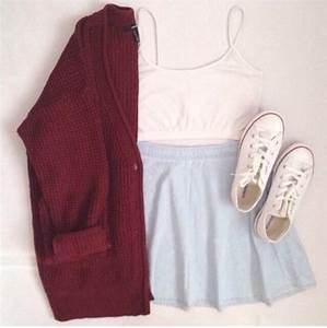 skirt tank top sweater circle skirt burgundy shoes cute ...