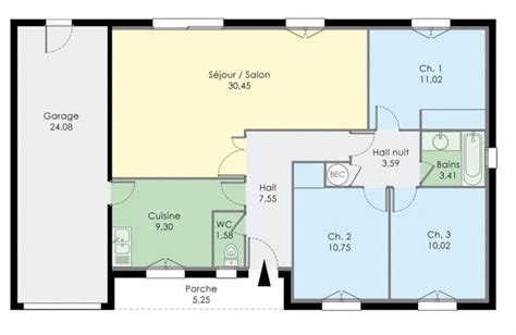 maison 3 chambre plan dune maison de trois chambres