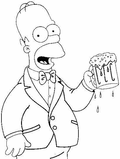 Homer Coloring Beer Simpson Chopp Simpsons Colorir