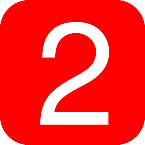 Red, Rounded, Square With Number 2 Clip Art At Clkercom