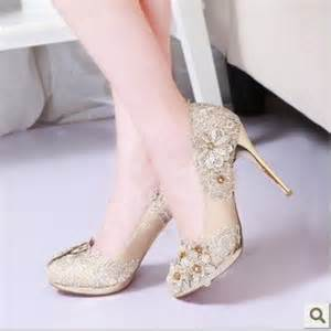 chagne colored wedding shoes pearl platform 39 s high heeled shoes bridal shoes inpumps from shoes on aliexpress