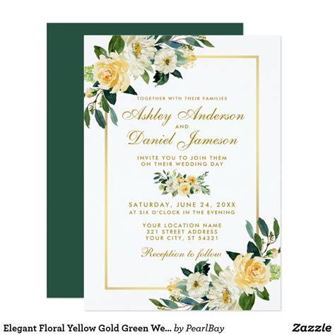 Elegant Floral Yellow Gold Green Wedding Invitation