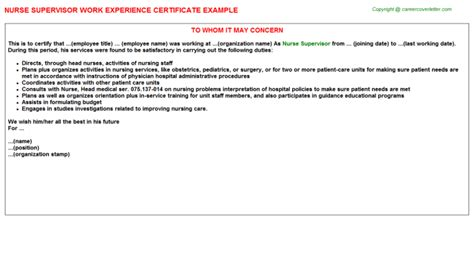 Dentistry Work Experience Letter by Experience Letters