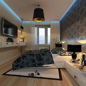 Bilder Für Schlafzimmer Wand : kleines schlafzimmer wand dekorieren tapete wei grau blaue led deckenbeleuchtung schlafzimmer ~ Sanjose-hotels-ca.com Haus und Dekorationen