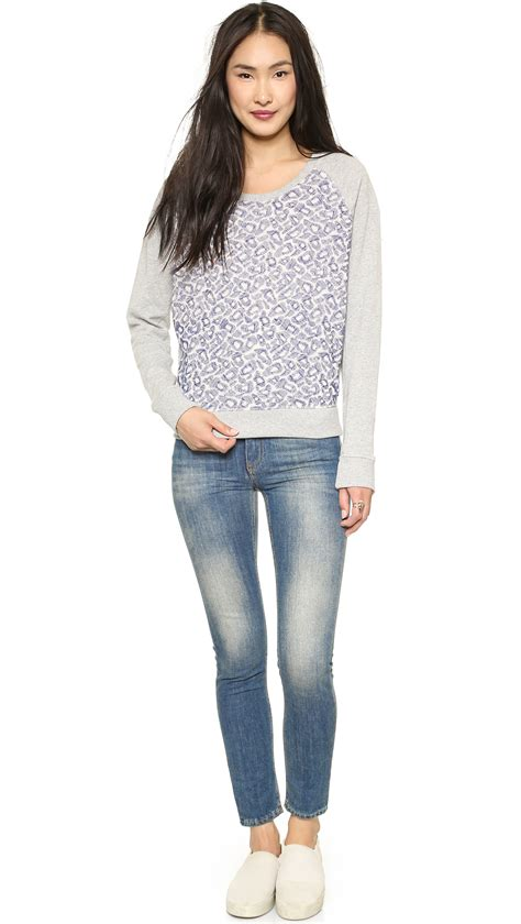 mesh sweater maison scotch embroidered mesh sweater grey in purple