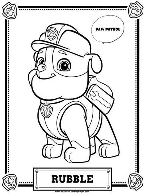Paw Patrol Coloring Pages Rubble Realistic Coloring
