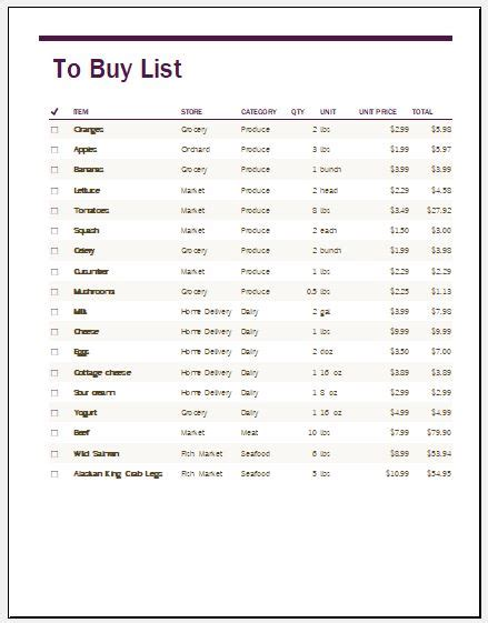 To Buy List Template For Ms Excel  Excel Templates