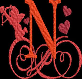 valentines day alphabet machine embroidery design monogram letter