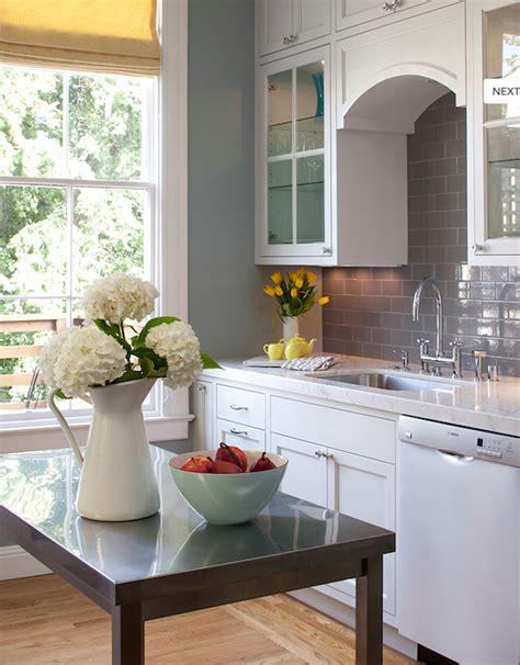 Backsplash With White Cabinets And Gray Walls gray subway tile backsplash contemporary kitchen