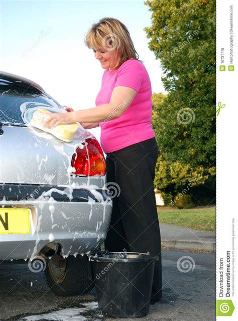 woman washing car royalty  stock  image
