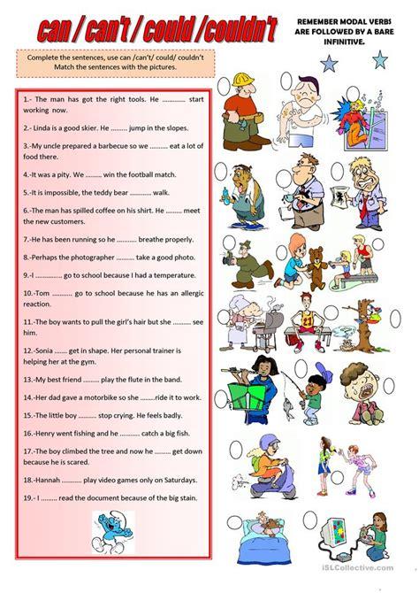 couldnt worksheet  esl printable