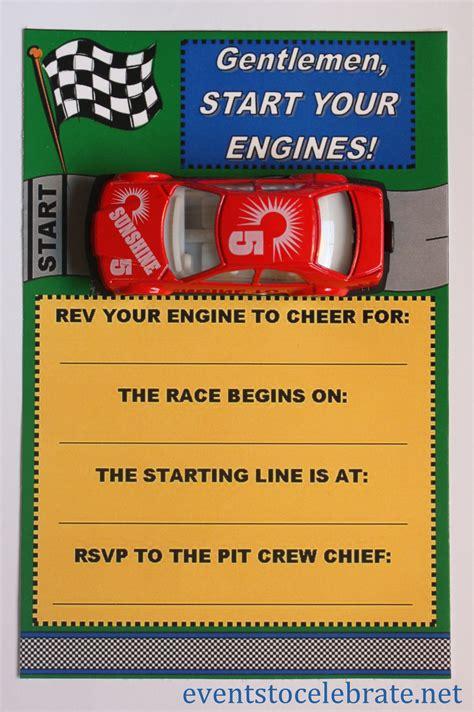 printable invitations army car racing swim party