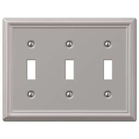 century steel 1 toggle wall plate antique chelsea brushed nickel steel 3 toggle wallplate