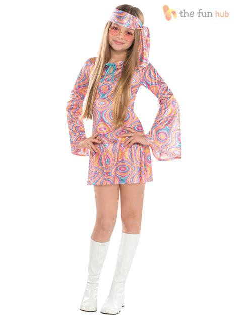 Girls Teen 60s 70s Hippy Chick Fancy Dress Costume Disco Groovy Kids Outfit | eBay