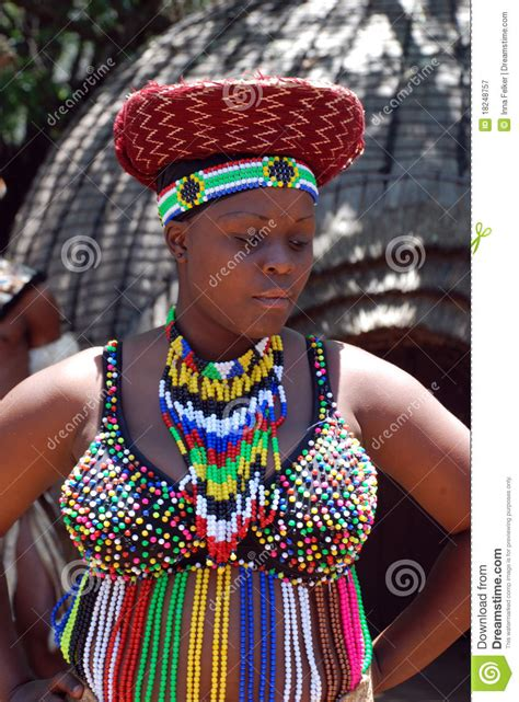 african zulu woman  traditional accessories editorial