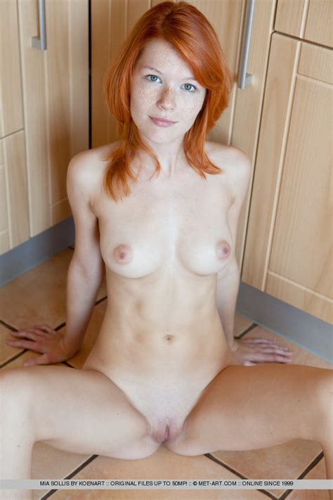 mia sollis pale redhead barefoot and stripping out of a lace bodysuit freakolla