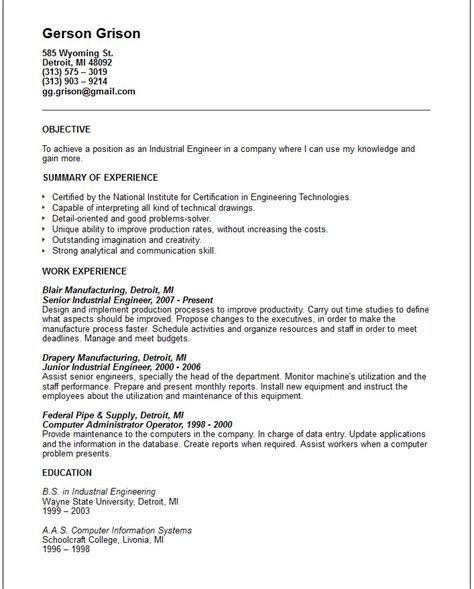 resume objective example engineering engineering resume examples