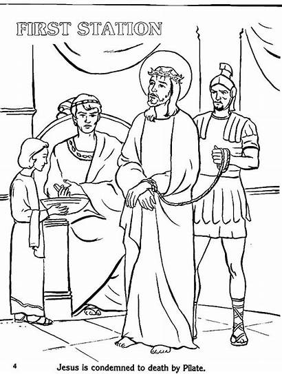 Stations Cross Coloring Pages Catholic Printable Drawing