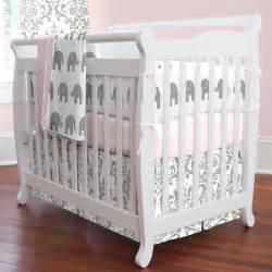 pink and gray elephants mini crib bedding carousel designs