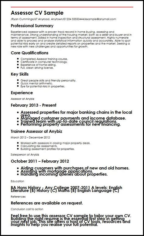 How To Write A Cv With Exle by Assessor Cv Sle Myperfectcv