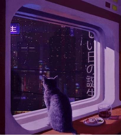 Aesthetic Vaporwave Cat Gifs Desktop Purple Cyberpunk