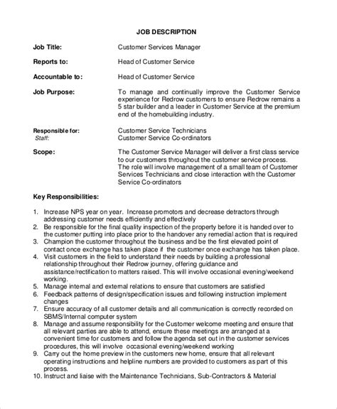 customer service manager description technical
