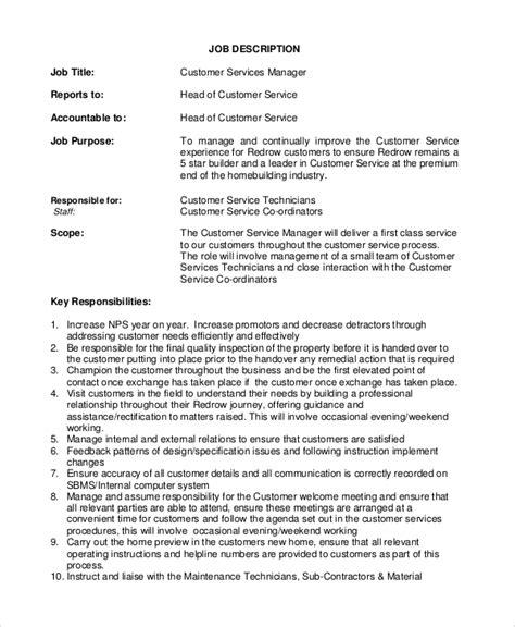8+ Customer Service Job Description Samples  Sample Templates