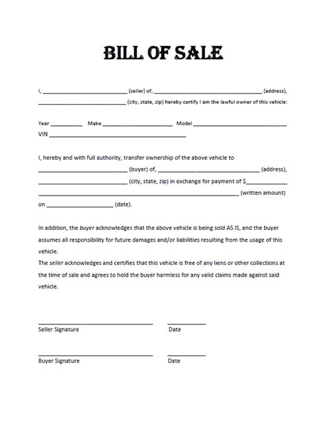 example of bill of sale free bill of sale template cyberuse
