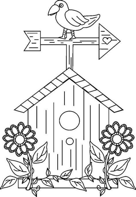 awesome bird house coloring pages  place  color