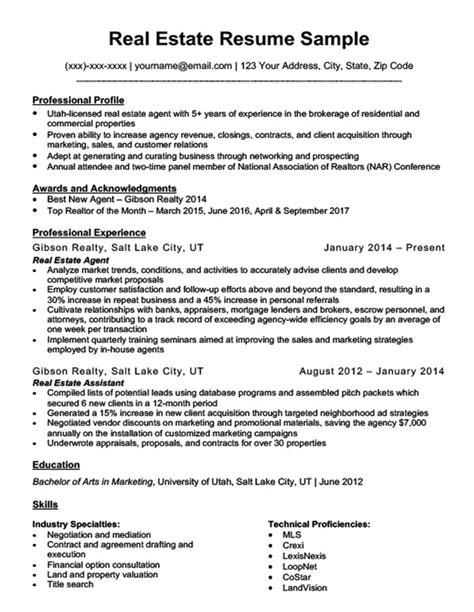 Realtor Resume Sle by Real Estate Resume Sle Resume Companion
