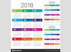 Anno 2018 2019 2020 calendario vettoriale — Vettoriali