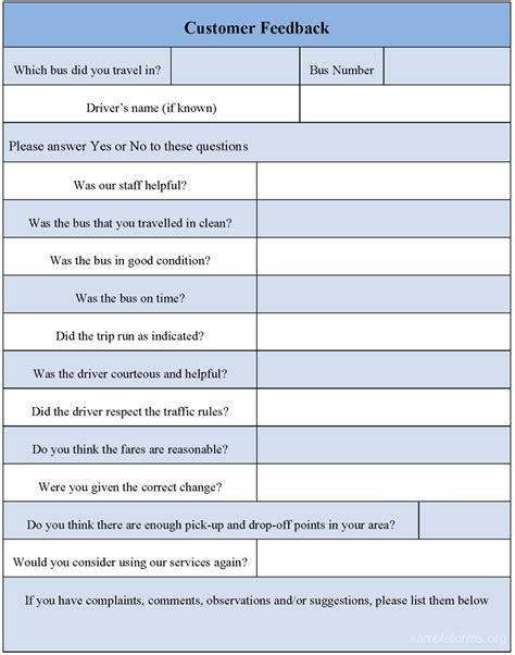 feedback template customer feedback form sle forms