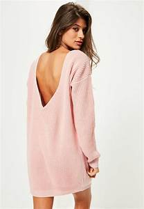 pink v back knitted mini sweater dress missguided With robe epaule nu