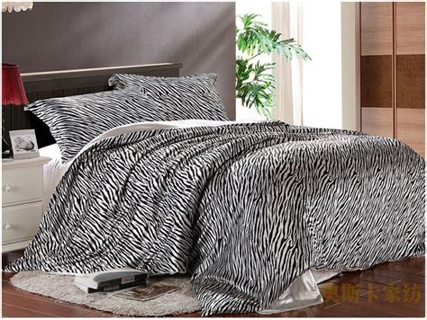 black and white zebra silk luxury bedding comforter set