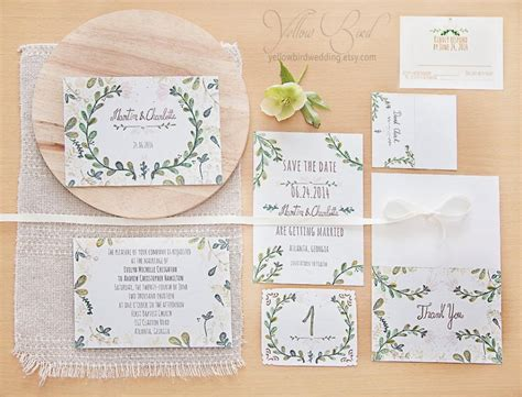 floral wedding invitation set hand painted handwritten
