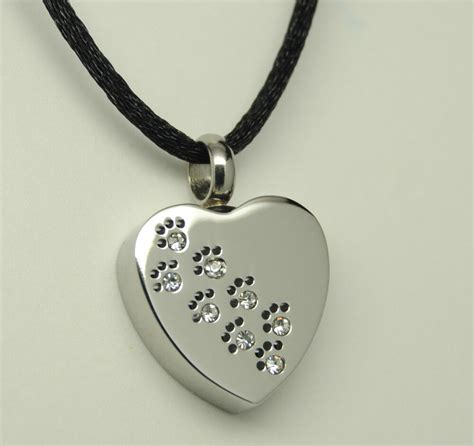 sweet paw print pet cremation urn necklace heart urn paw