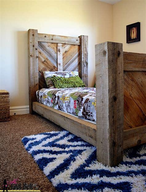 rustic barnwood twin bed plan  tool belt