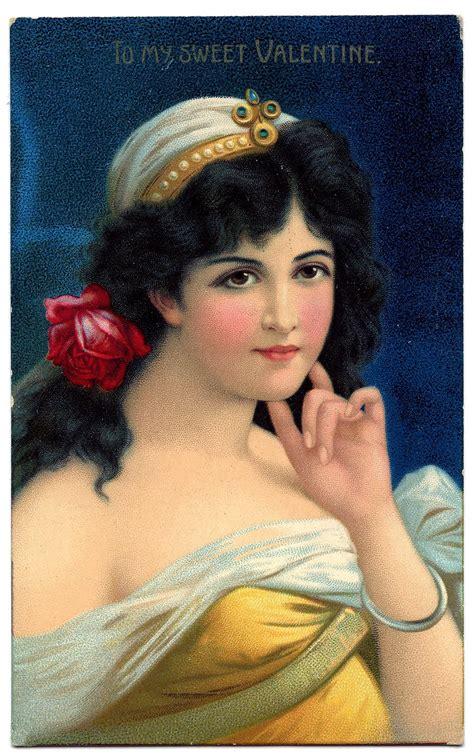 vintage valentines day clip art stunning woman