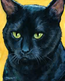 black cat painting thinking black cat painting by dottie dracos