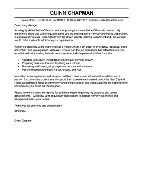police officer cover letter examples livecareer