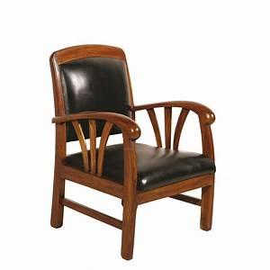 Fauteuil Cuir Et Bois : fauteuil exotique bois et cuir noir dika pier import ~ Teatrodelosmanantiales.com Idées de Décoration
