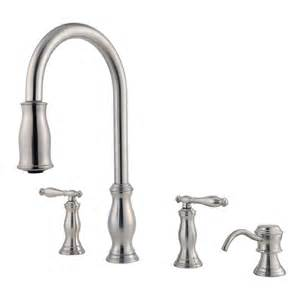 2 handle kitchen faucets shop pfister hanover stainless steel 2 handle pull kitchen faucet at lowes com